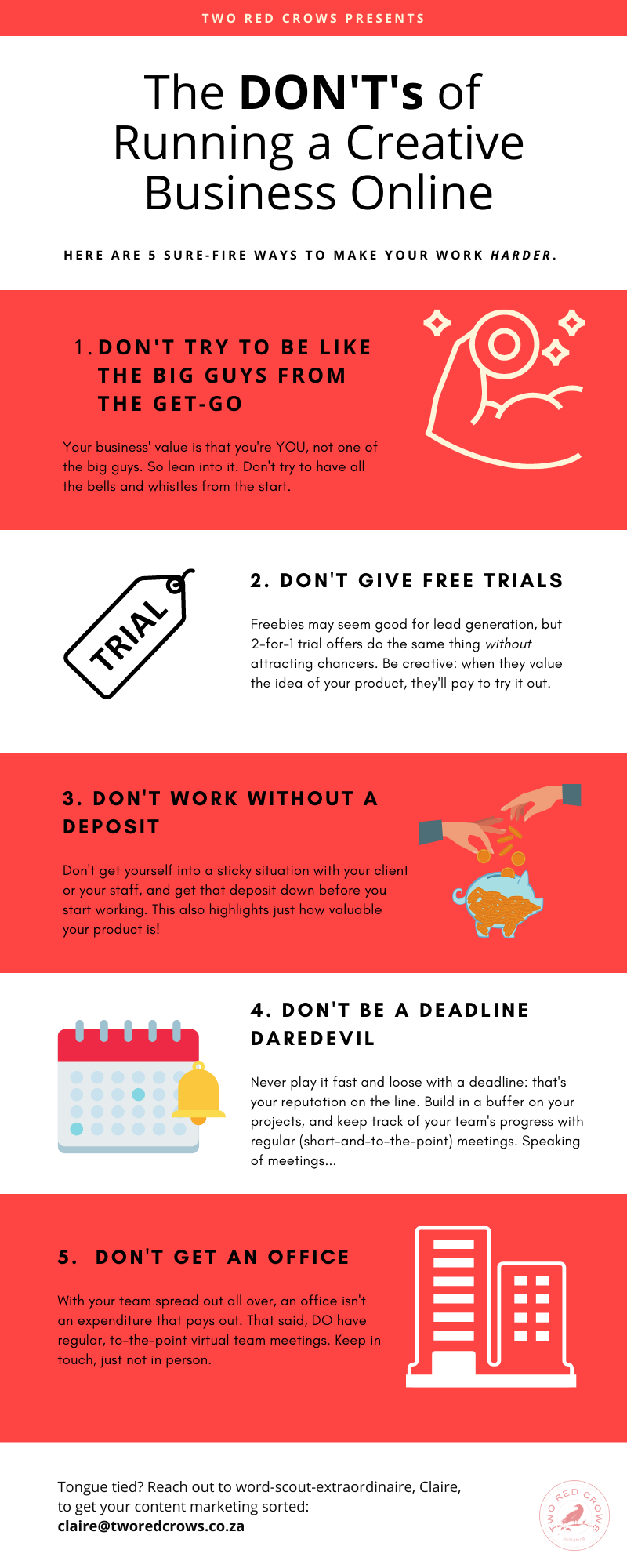 Infographic with 5 DON'Ts when it comes to running a creative business online!
