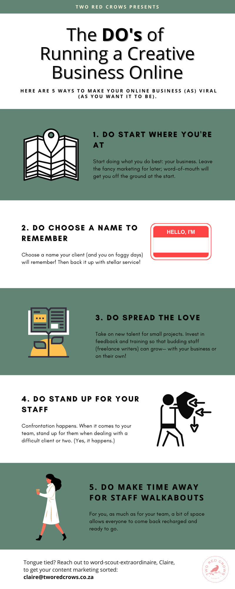 Infographic of DOs when it comes to running a creative online business